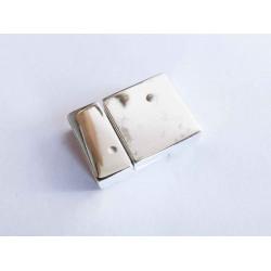 1x hellsilber Magnet Verschluss II. Wahl 20x14x6mm hellsilber Einklebverschluss - Schmuckzubehör Schmuckverschluss