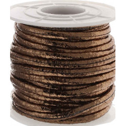 1m braun metallic PU Lederband 3x2mm Kunstleder - Schmuckzubehör