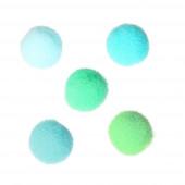 200x grün blaue Pompons 10mm Stoffperle - Schmuckzubehör Stoffperle