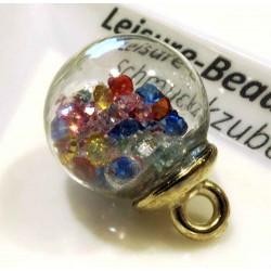1x Glas Dome Anhänger mit bunten Glaskristallen Schmuckanhänger 21x16mm - gold Schmuckzubehör