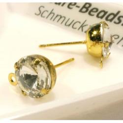 1 Paar Strass gold Ohrstecker mit Öse 18x11x8mm - Schmuckzubehör Ohrringe basteln
