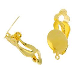 2 Stück gold Ohrclips mit Öse 12x22mm zum Bekleben Ohr Clips - Schmuckzubehör Ohrclips basteln