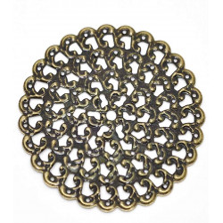 1x filigranes bronze Ornament 48mm Anhänger / Aufnäher Streudeko - bronze Bastelbedarf