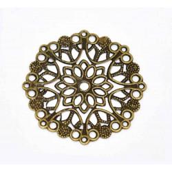 1x filigranes bronze Ornament 35mm Anhänger / Aufnäher Streudeko - bronze Bastelbedarf