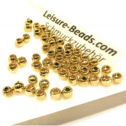 50x goldfarbene Perlen 4mm Acryl plattiert - Schmuckzubehör