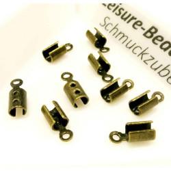 10x bronze Endkappe 8x3,5mm Innen 3mm Quetschröhrchen - Schmuckzubehör