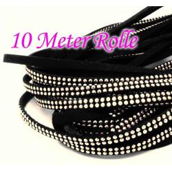 10m schwarzes Kunstlederband 5mm mit hellsilber Nieten schwarzes Schmuckband in Wildlederoptik - Schmuckzubehör Lederband