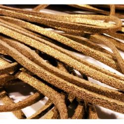 0,9m gold braunes synth. Lederband 3mm mit Glitzer - Schmuckzubehör