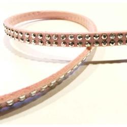 1m rosa Kunstlederband 5mm mit Nieten Schmuckband in Wildlederoptik für Armbänder - Schmuckzubehör Lederband