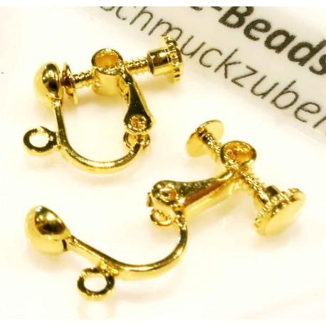 2 Stück gold Ohrclips 21x14mm zum Clippen und Drehen goldfarben - Schmuckzubehör zum Ohrclips selbermachen