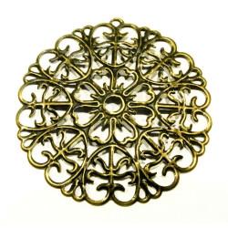 1x filigraner bronze Anhänger 52mm Ornament - bronze Schmuckanhänger