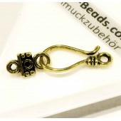 1x gold Schmuckhaken 24x11mm Miederhaken Schmuckverschluss - Schmuckubehör Schmuckverschluss