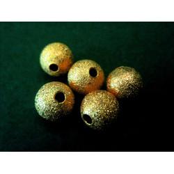 5x angerauhte Metallperlen 8mm goldfarben Kugel Spacer