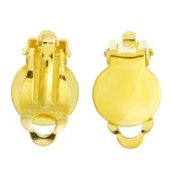 2 Stück gold Ohrclips 17x10mm zum Bekleben Ohr Clips - Schmuckzubehör Ohrclips basteln