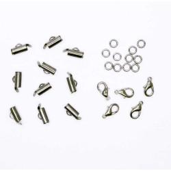 10x 10mm gunmetal Perlenband Verbinder als Set - Schmuckzubehör