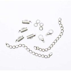 4x 10mm silber Perlenband Verbinder und Verlängerungskettchen als Set - Schmuckzubehör