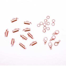 10x 10mm rosegold Perlenband Verbinder als Set - Schmuckzubehör