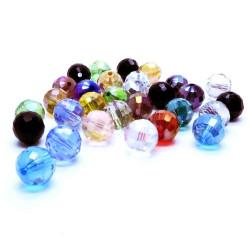 10mm geschliffene Kristallglasperlen mit Glanz im bunten Perlenmix - buntes Schmuckzubehör