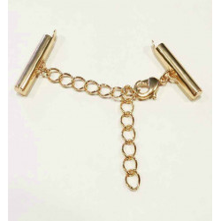 1x KC-gold 20mm Perlenband Verbinder Set mit Karabiner und Kettchen - Schmuckzubehör