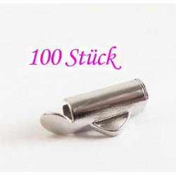 100x silber 10mm Bandklemme Perlenband Kettenverbinder Chandelierverteiler Einklebhülse - Schmuckzubehör