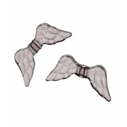 10x graue Engelsflügel Acrylperlen 20x9mm - Schmuckzubehör Acrylperlen