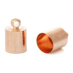 10x Rosegold Endkappe 11x7mm innen 6,5mm rosegold Einklebkappen - rosegold Schmuckzubehör