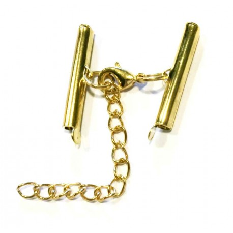 1x gold 25mm Perlenband Verbinder Set mit Karabiner und Kettchen - Schmuckzubehör