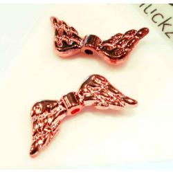 2x rosegold Engelsflügel Perlen 19x8mm - Schmuckzubehör