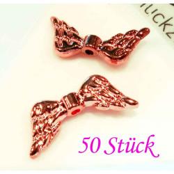 50x rosegold Engelsflügel Perlen 19x8mm - Schmuckzubehör