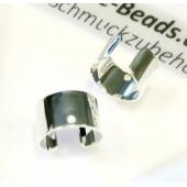 2 Stück hellsilber Ohr Cuffs 10x6,2mm platinfarbene Ohrklemmen - Schmuckzubehör zum Ohr Cuffs basteln