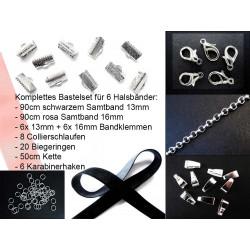 Trachtenschmuck selber machen mit Bastelset für Halsband mit Samtband, Bandklemmen, Karabinern + Biegeringen - Schmuck Bastelset