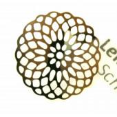 1x gold Edelstahlanhänger 18x0,3mm filigrane Scheibe - Schmuckzubehör