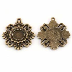1x bronze Blume Anhänger 28x25mm Schmuckanhänger - bronze Schmuckzubehör