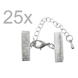 25x 20mm Bandklemme silber Verschluss mit Karabiner und Kette silberfarben - Schmuckzubehör