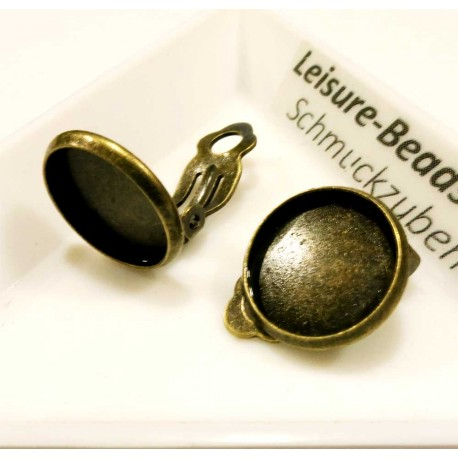 2 Stück bronze Ohrclips 14x16mm zum Bekleben - Schmuckzubehör Ohrclips basteln