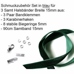 Schmuckzubehör Set grün für 15mm Halsband mit Samtband, Bandklemmen, Karabinern + Biegeringen - Schmuckzubehör Set