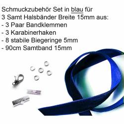 Schmuckzubehör Set blau für 15mm Halsband mit Samtband, Bandklemmen, Karabinern + Biegeringen - Schmuckzubehör Set