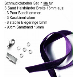 Schmuckzubehör Set lila für 15mm Halsband mit Samtband, Bandklemmen, Karabinern + Biegeringen - Schmuckzubehör Set