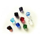 9x Kristallglasperlen in Rhombenform 8x8mm bunter Perlenmix