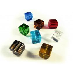 8x Kristallglasperlen in Würfelform 10x10mm bunter Perlenmix