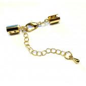1x gold Verschluss 35x5mm Endkappe mit Karabiner zum Zusammendrücken - Schmuckzubehör Endkappe