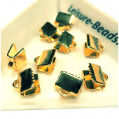 10x gold Bandklemme 7mm mit glatter Oberfläche Bandklemmen - gold Schmuckzubehör