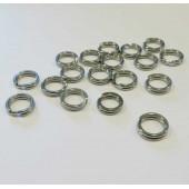 5x Edelstahl Spaltring 6mm Doppelring im Döschen runder silber Biindering - Schmuckzubehör