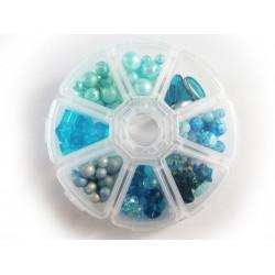 Box mit türkis Perlenmix aus Glas und Kristallglas Schmuckzubehör