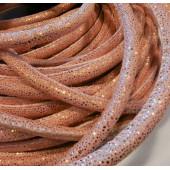 20cm rosa PU Lederband 6x5mm mit goldfarbenen Glitzerpunkten - Schmuckzubehör