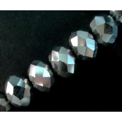 10x Silberfarbene geschliffene Kristallglasperlen 8x6mm - Schmuckzubehör Kristallglasperlen