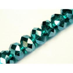 10x Türkis silber geschliffene Kristallglasperlen 8 x 6 mm