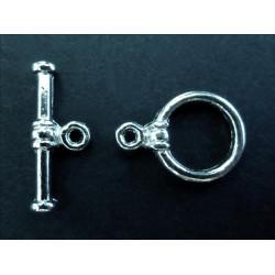 2x Knebelverschluss Ringteil 10mm Toggle silberfarben - Schmuckzubehör