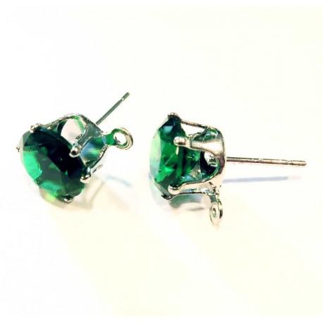 2 Stück grüne Strass Ohrstecker mit Öse Strassstein 8mm - Schmuckzubehör Ohrringe