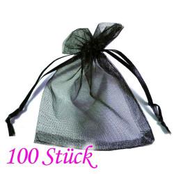 100x schwarzes Organzasäckchen 10x15cm schwarzer Organzabeutel - Schmuckzubehör Schmuckverpackung